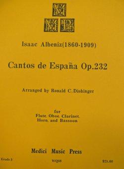 画像1: 【在庫一掃セール】 木管5重奏楽譜 Cantos de EspanaOP,232(スペインの歌) 作曲:Isaac Albeniz(アルベニス) 編曲:Ronald C,Dishinger 【2021年10月3日登録】